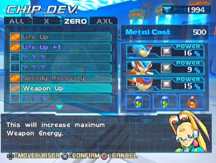 Chip Upgrades Guide - Mega Man X8 (Mega Man XZ: The Maverick